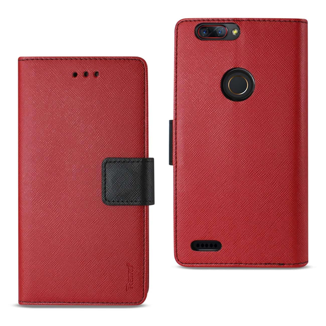 ZTE Blade Z MAX/Z982/ZTE Sequoia 3-IN-1 WALLET CASE IN RED