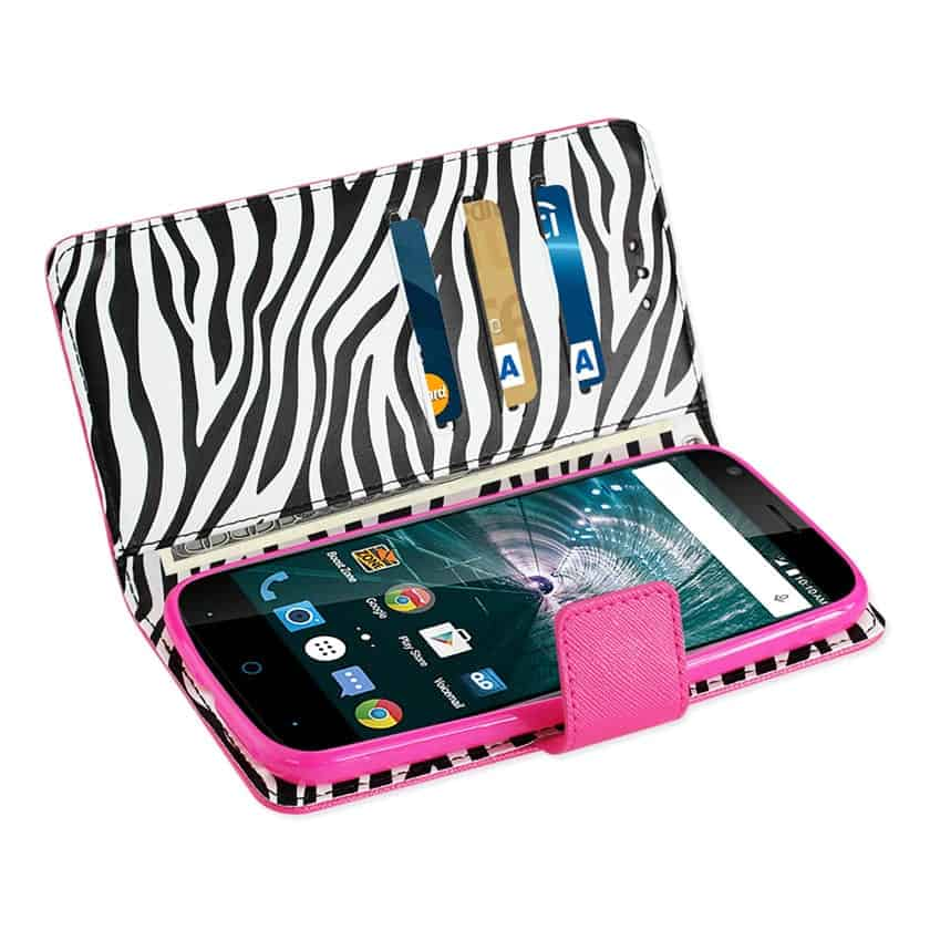 GRAND X3 (Z959)/ WARP 7 WALLET CASE WITH INNER ZEBRA PRINT IN HOT PINK