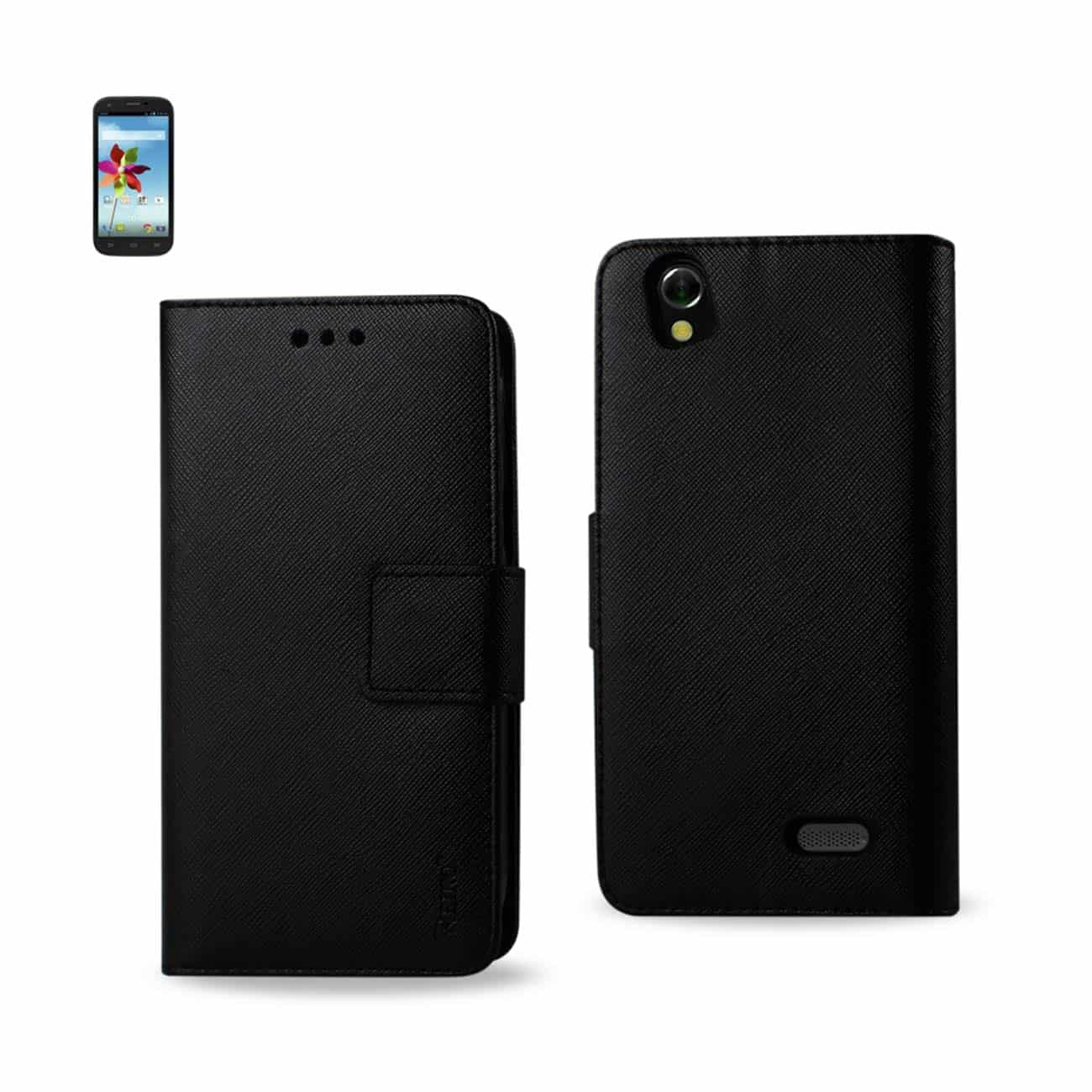 ZTE GRAND X 3-IN-1 WALLET CASE IN BLACK