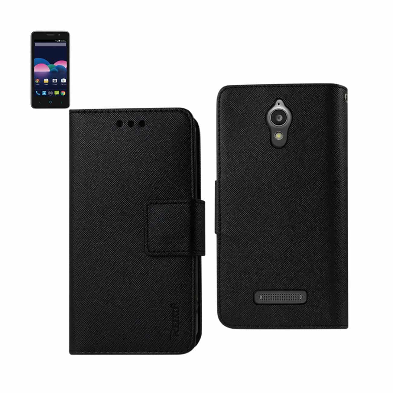 ZTE OBSIDIAN 3-IN-1 WALLET CASE IN BLACK