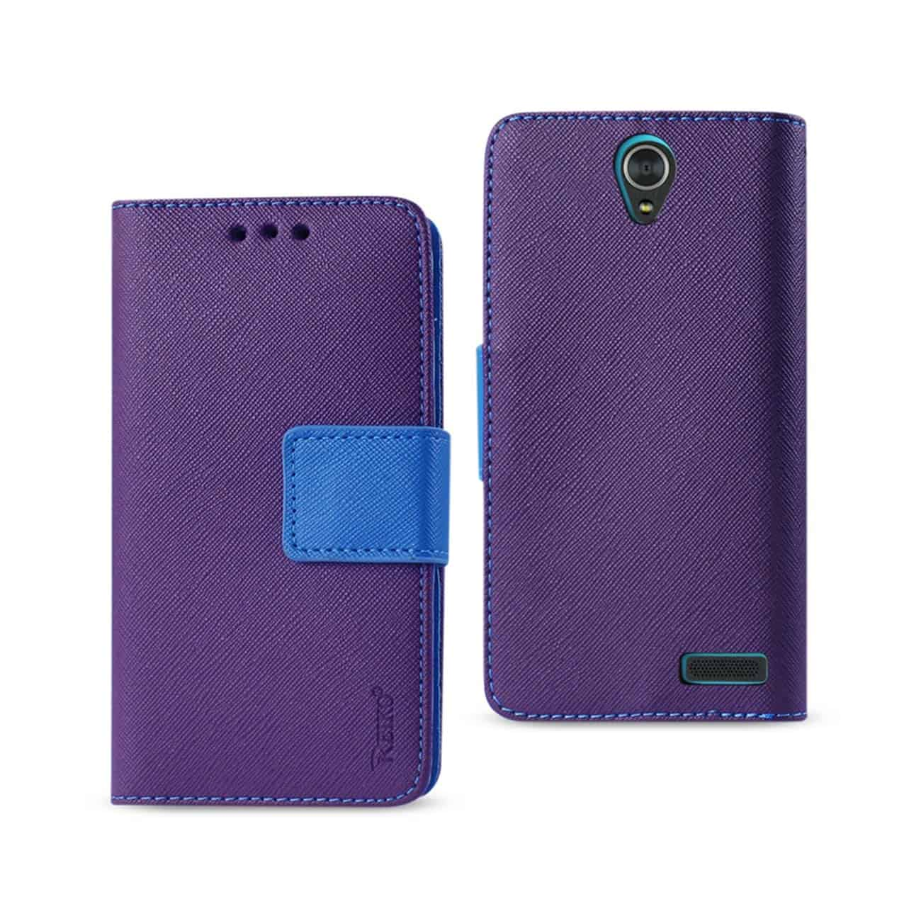 ZTE GRAND X3 3-IN-1 WALLET CASE IN PURPLE