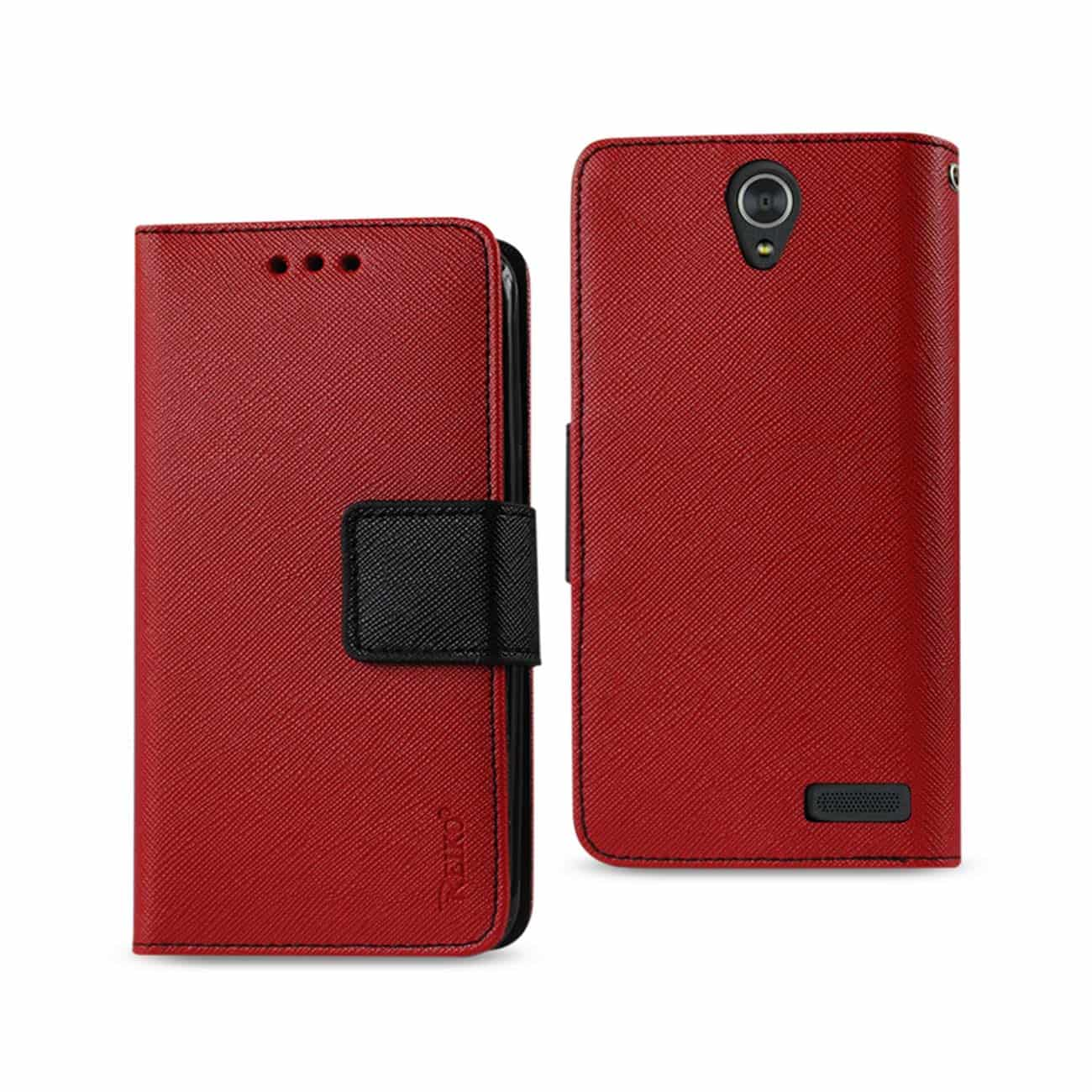 ZTE GRAND X3 3-IN-1 WALLET CASE IN RED
