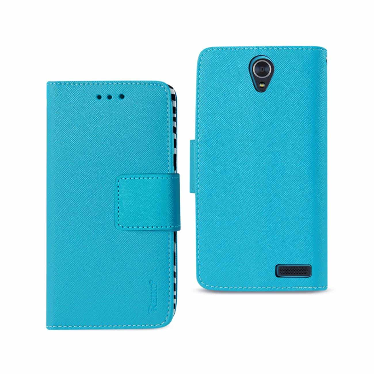 ZTE GRAND X3 WALLET CASE WITH INNER ZEBRA PRINT IN BLUE