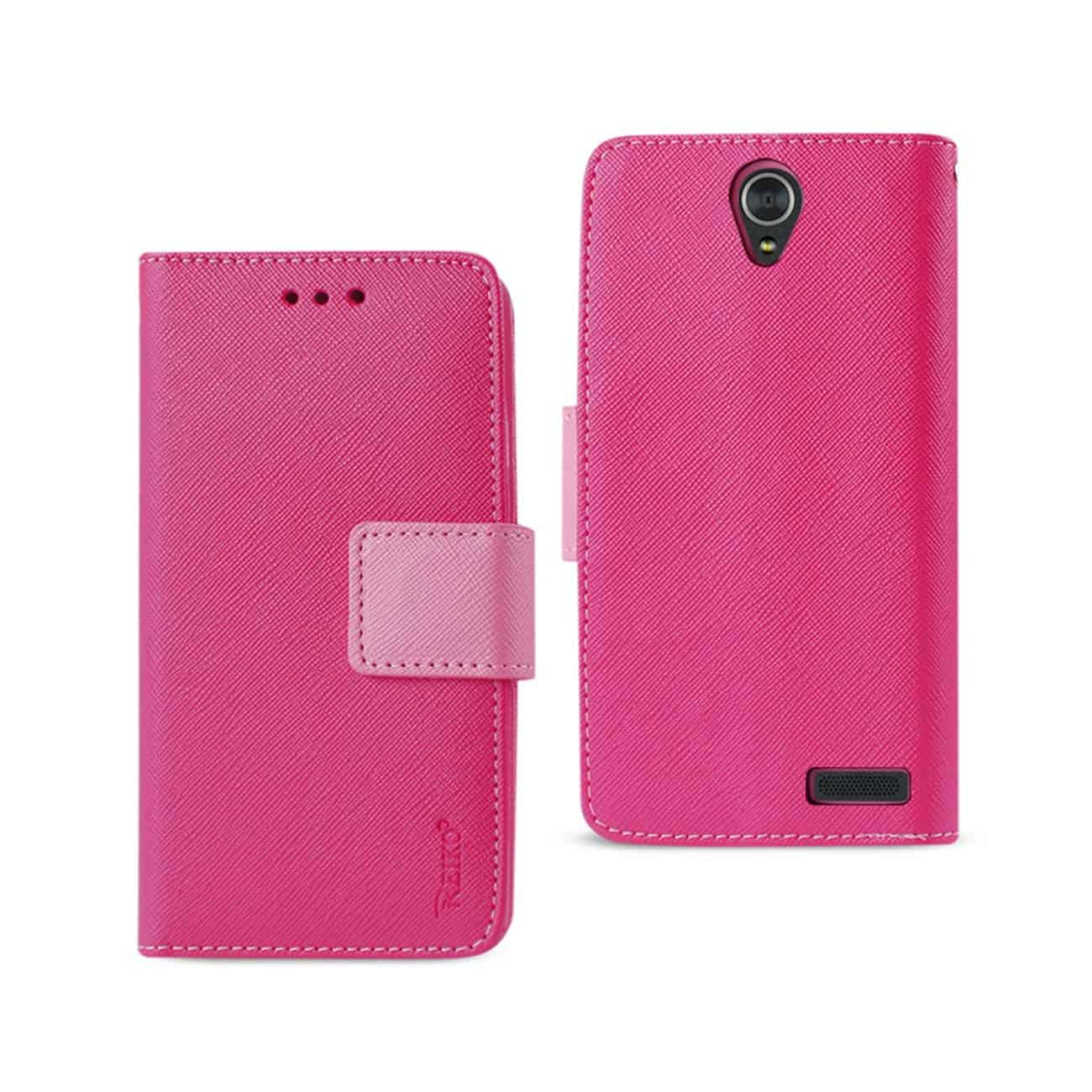 ZTE GRAND X3 WALLET CASE WITH INNER ZEBRA PRINT IN HOT PINK