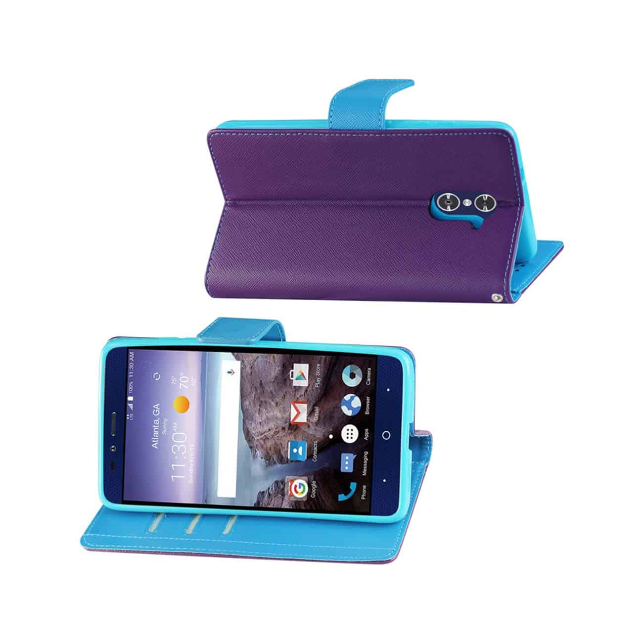 ZTE GRAND X MAX 2 3-IN-1 WALLET CASE IN PURPLE
