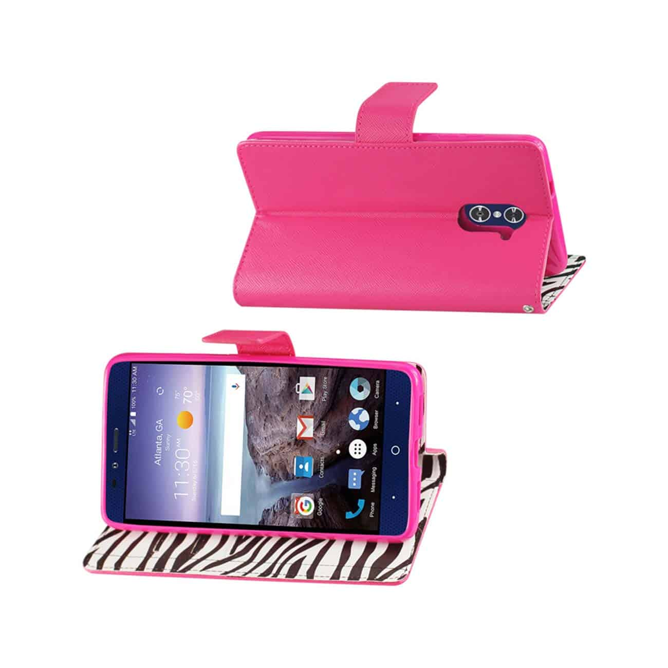 ZTE GRAND X MAX 2 WALLET CASE WITH INNER ZEBRA PRINT IN HOT PINK