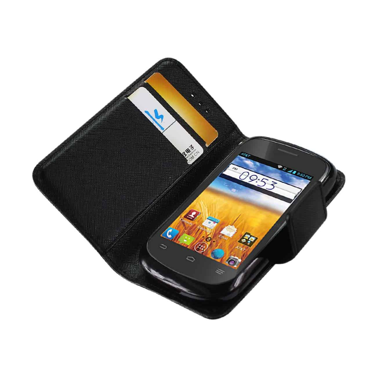 ZTE PRELUDE 3-IN-1 WALLET CASE IN BLACK