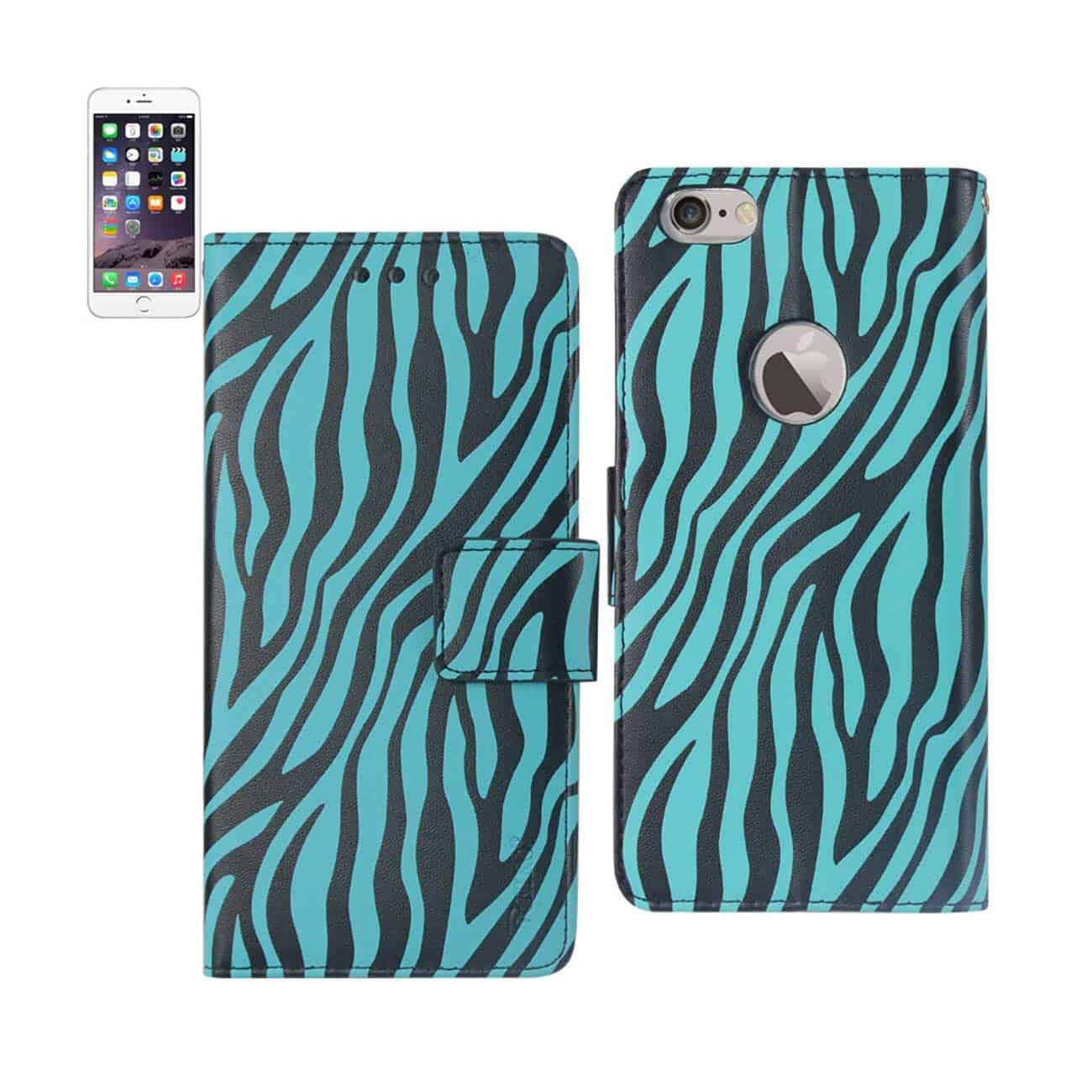 IPHONE 6 PLUS 3-IN-1 ANIMAL ZEBRA PRINT WALLET CASE IN BLUE