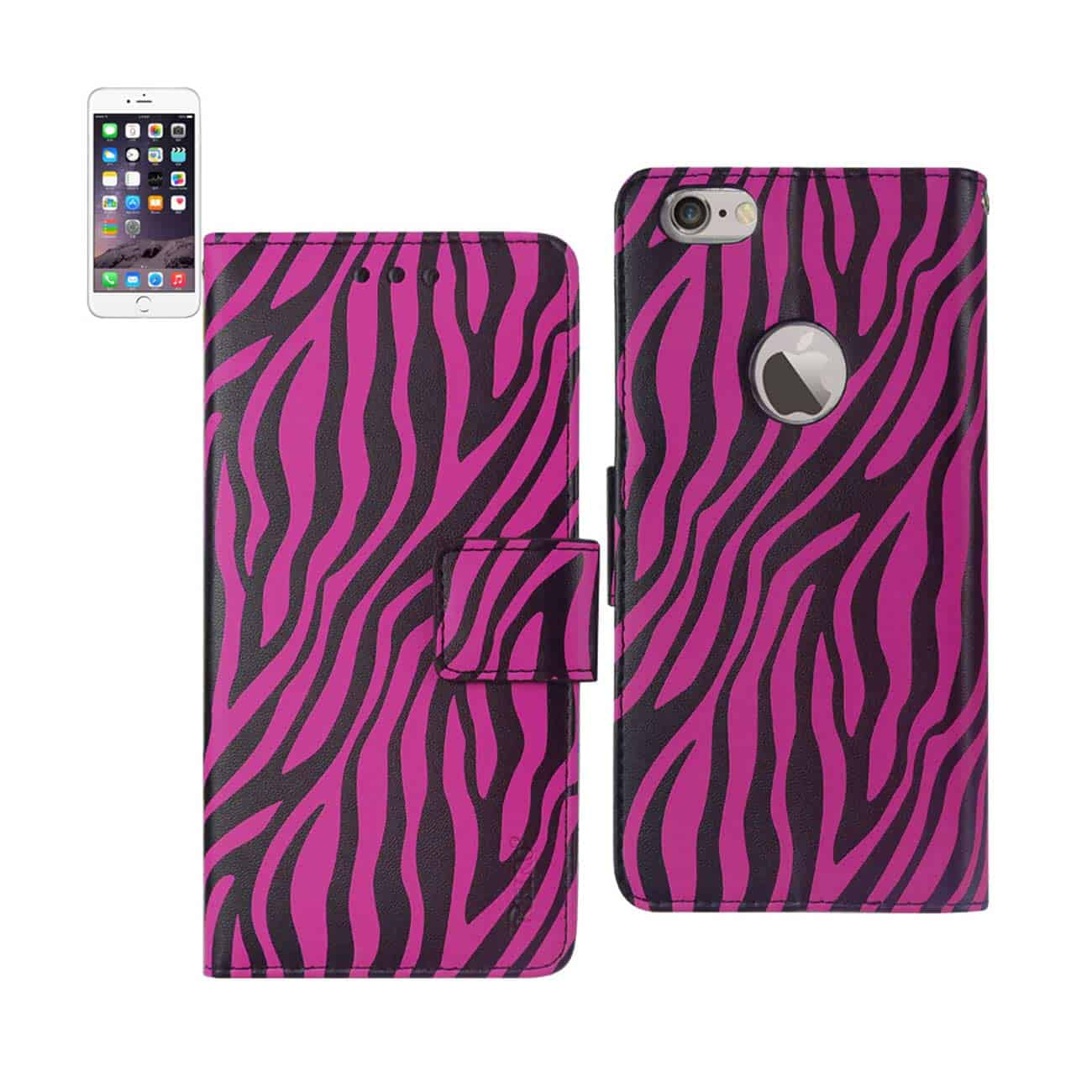 IPHONE 6 PLUS 3-IN-1 ANIMAL ZEBRA PRINT WALLET CASE IN HOT PINK