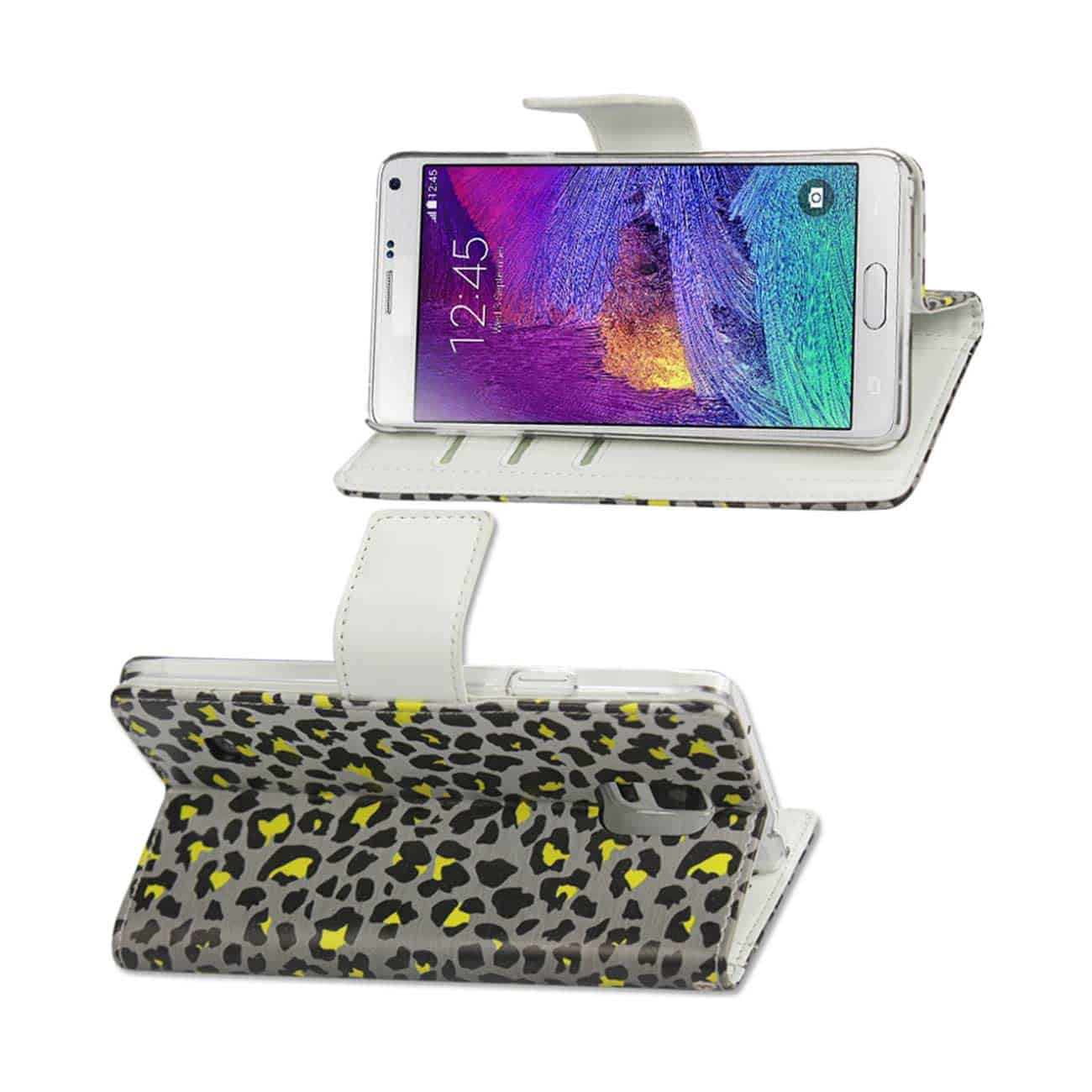 SAMSUNG GALAXY NOTE 4 3-IN-1 ANIMAL LEOPARD PRINT WALLET CASE IN SILVER