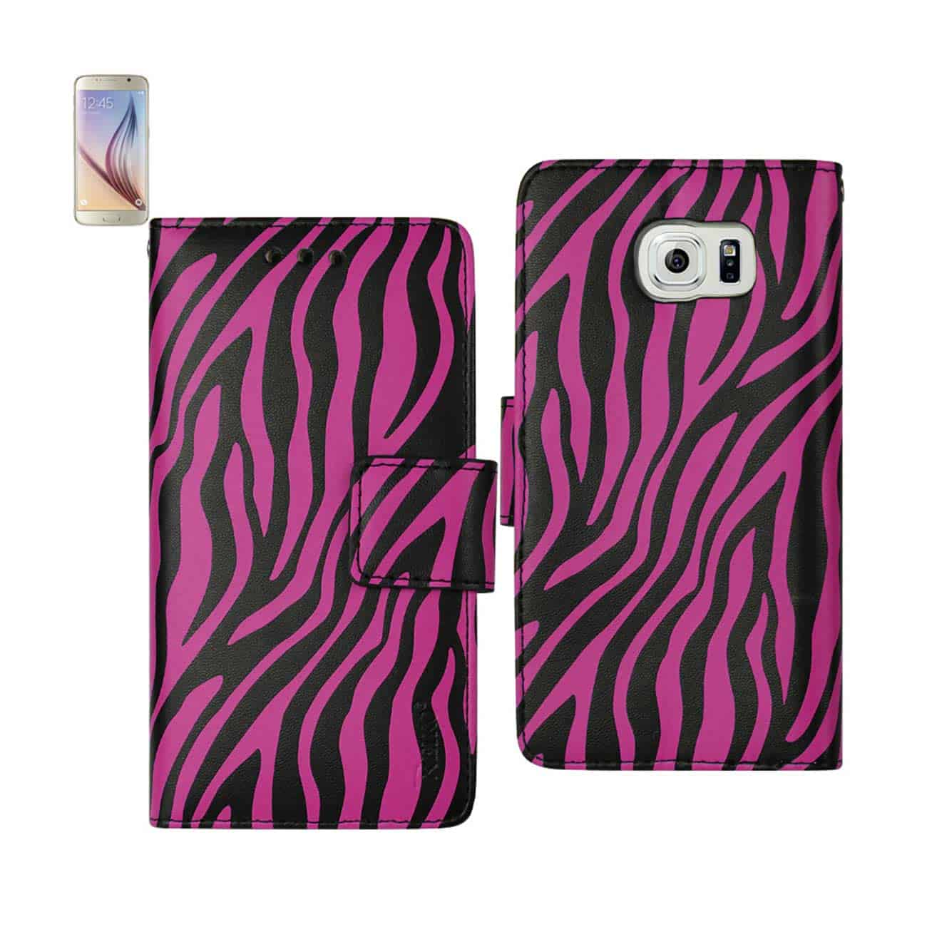 SAMSUNG GALAXY S6 EDGE 3-IN-1 ANIMAL ZEBRA PRINT WALLET CASE IN HOT PINK