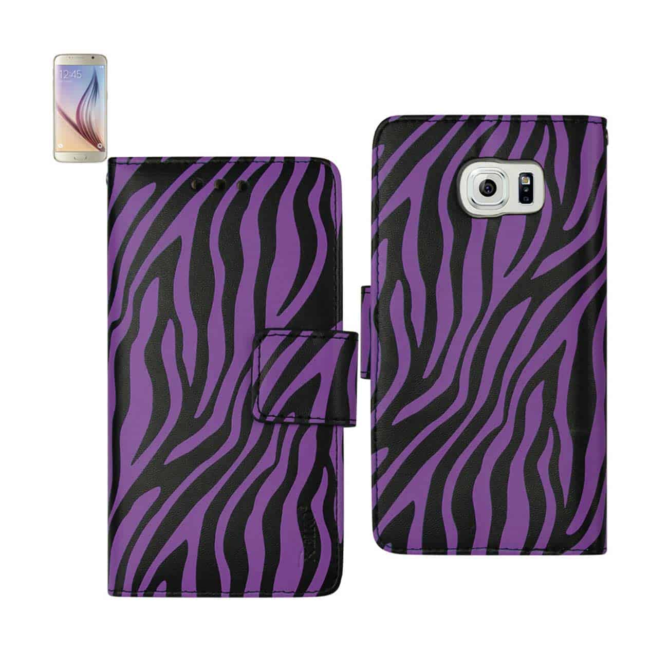 SAMSUNG GALAXY S6 EDGE 3-IN-1 ANIMAL ZEBRA PRINT WALLET CASE IN PURPLE