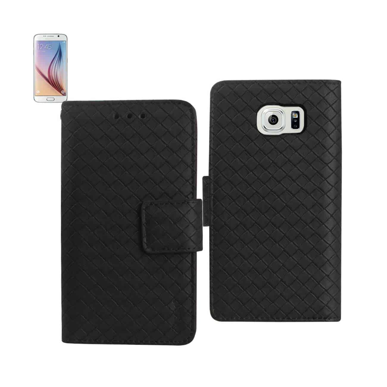 SAMSUNG GALAXY S6 BRAIDED WALLET CASE IN BLACK