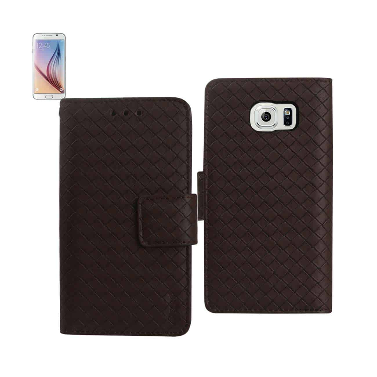 SAMSUNG GALAXY S6 BRAIDED WALLET CASE IN BROWN