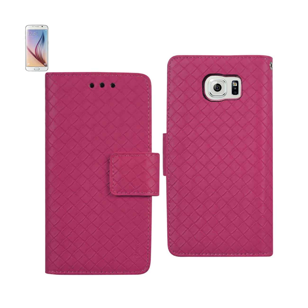 SAMSUNG GALAXY S6 BRAIDED WALLET CASE IN HOT PINK
