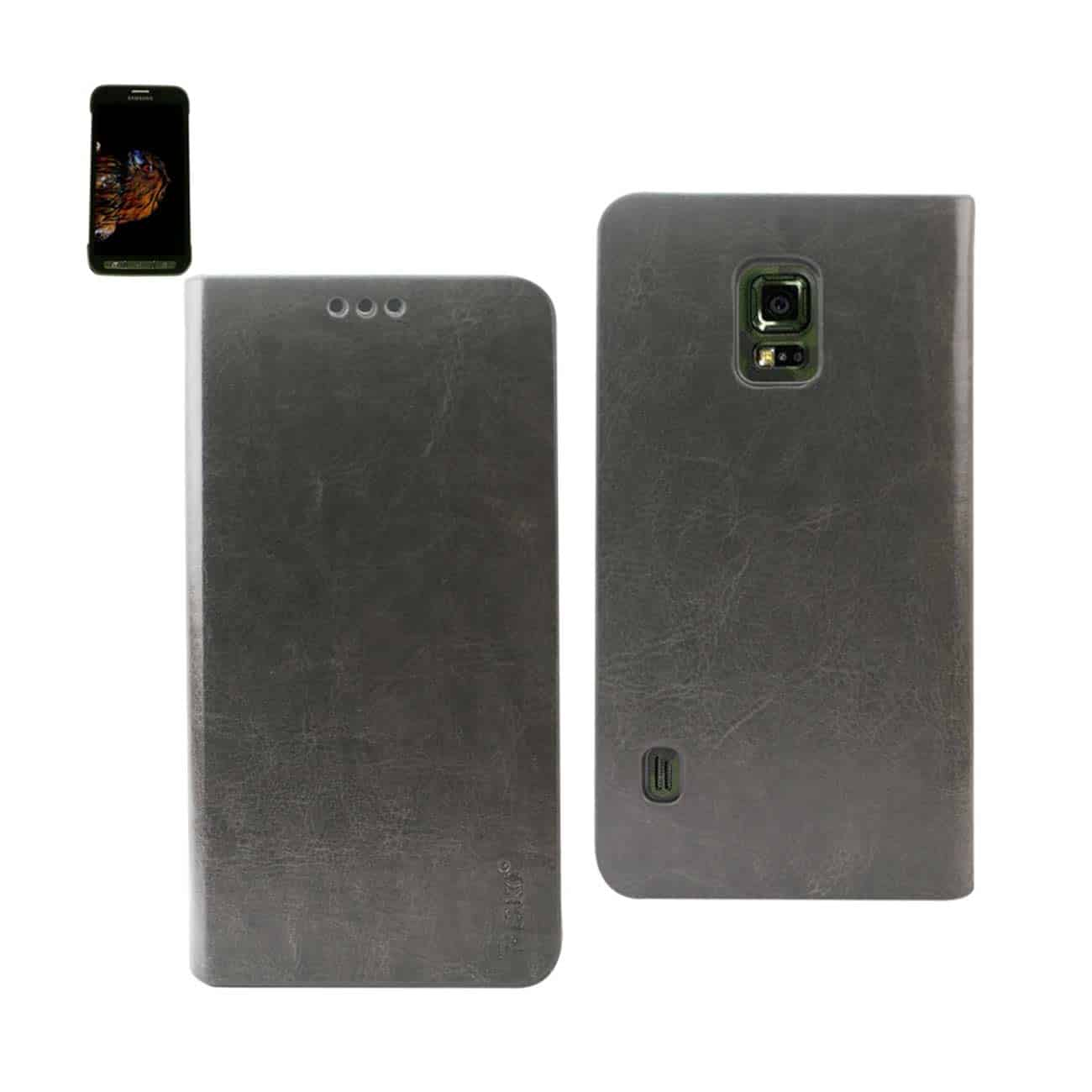 SAMSUNG GALAXY S5 ACTIVE FLIP FOLIO CASE WITH CARD HOLDER IN GRAY