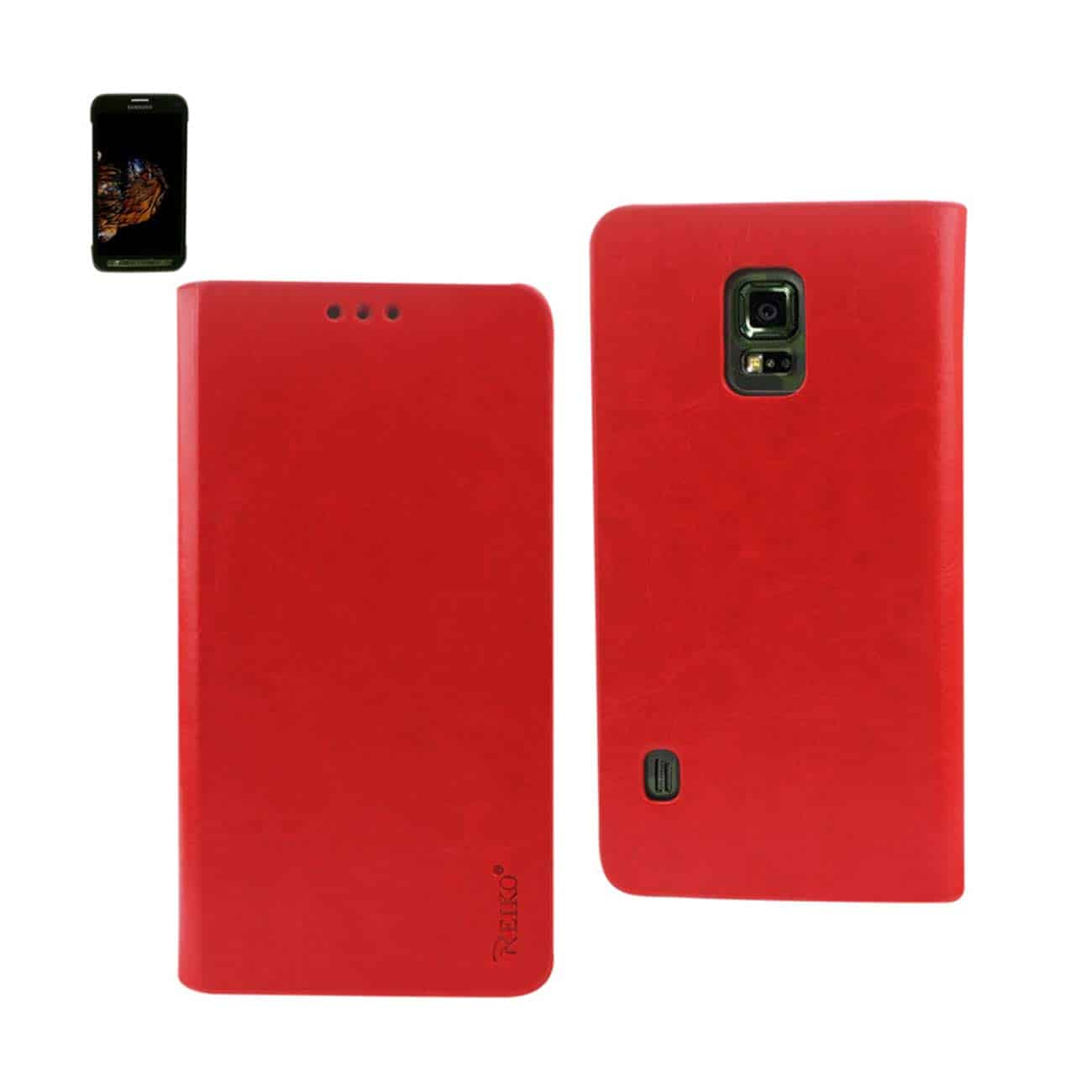 SAMSUNG GALAXY S5 ACTIVE FLIP FOLIO CASE WITH CARD HOLDER IN RED