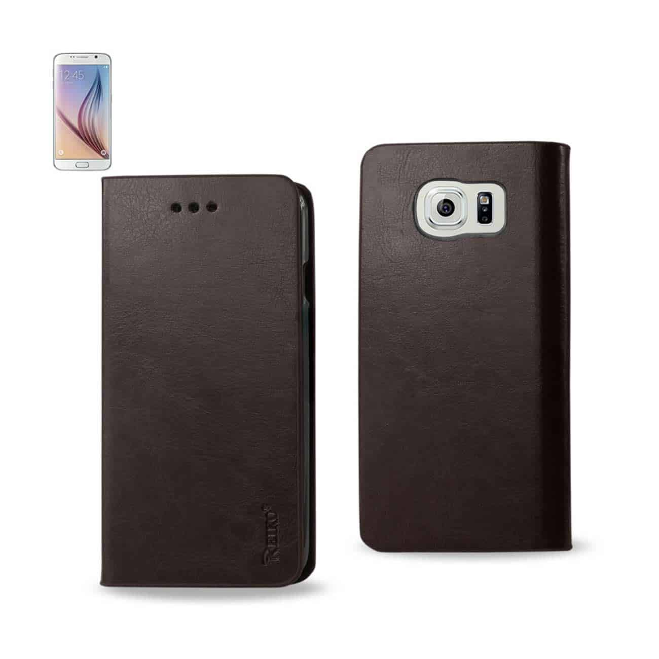 SAMSUNG GALAXY S6 FLIP FOLIO CASE WITH CARD HOLDER IN BROWN