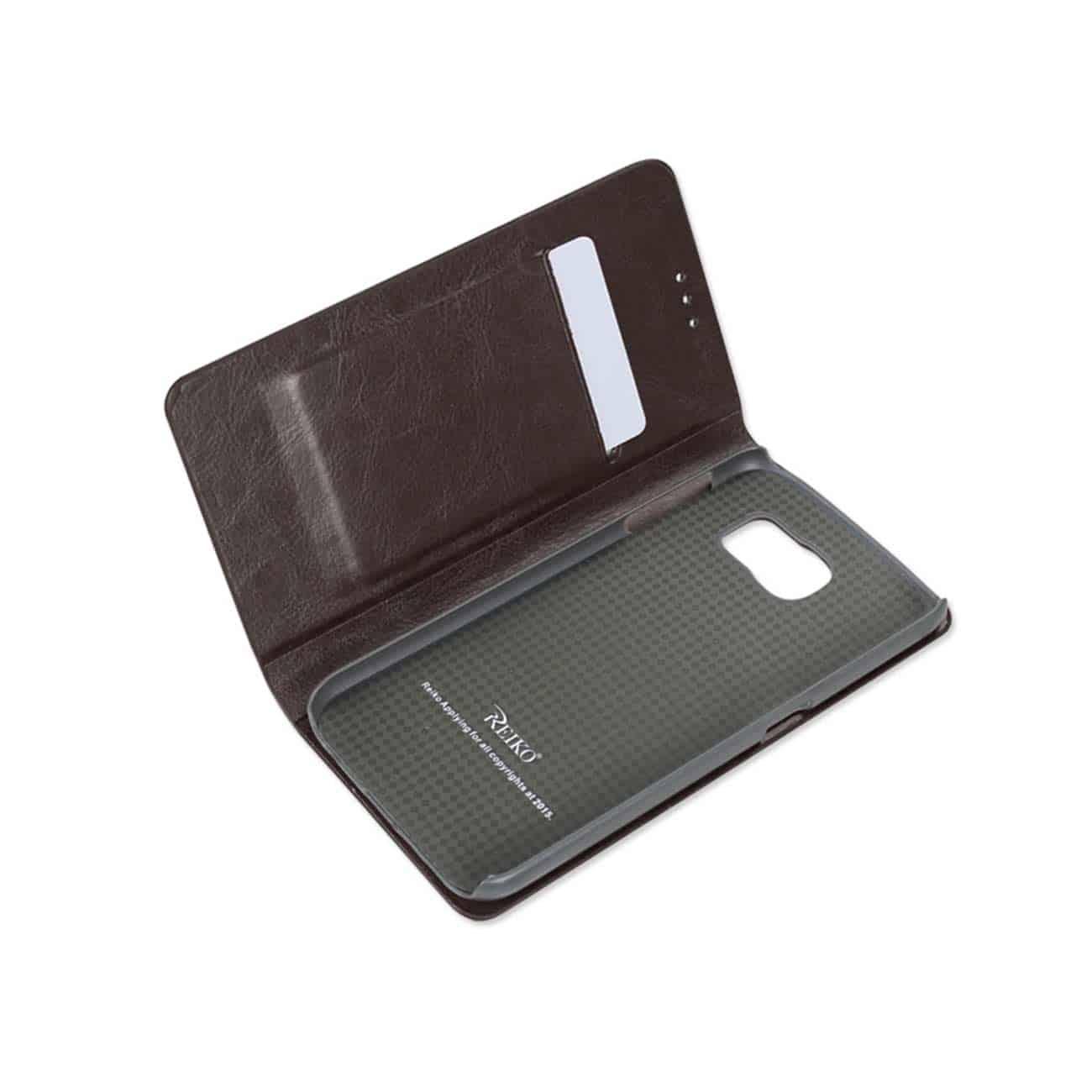 SAMSUNG GALAXY S6 FLIP FOLIO CASE WITH CARD HOLDER IN BROWN