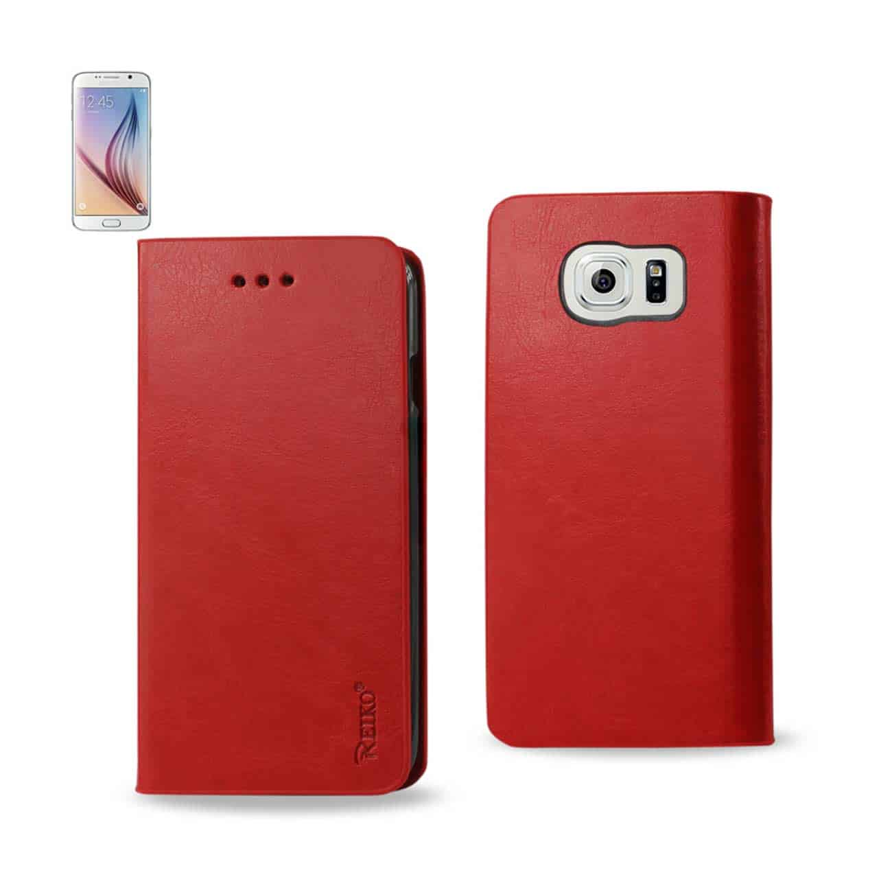 SAMSUNG GALAXY S6 FLIP FOLIO CASE WITH CARD HOLDER IN RED