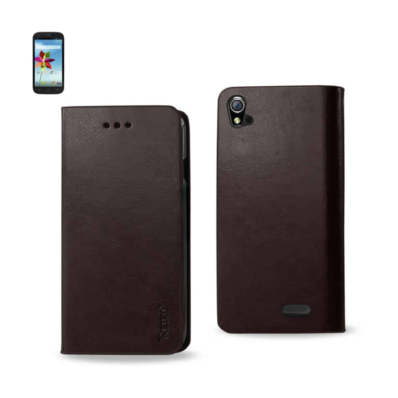 ZTE GRAND X FLIP FOLIO CASE WITH CARD HOLDER IN BROWN