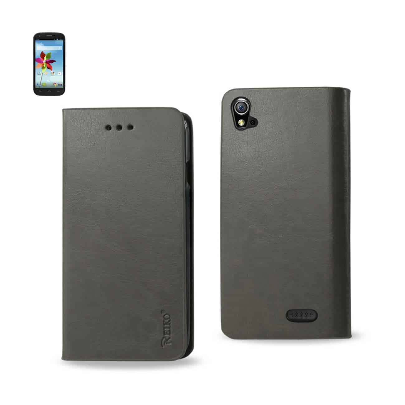 ZTE GRAND X FLIP FOLIO CASE WITH CARD HOLDER IN GRAY