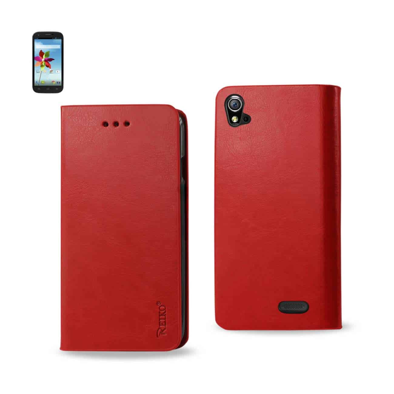 ZTE GRAND X FLIP FOLIO CASE WITH CARD HOLDER IN RED