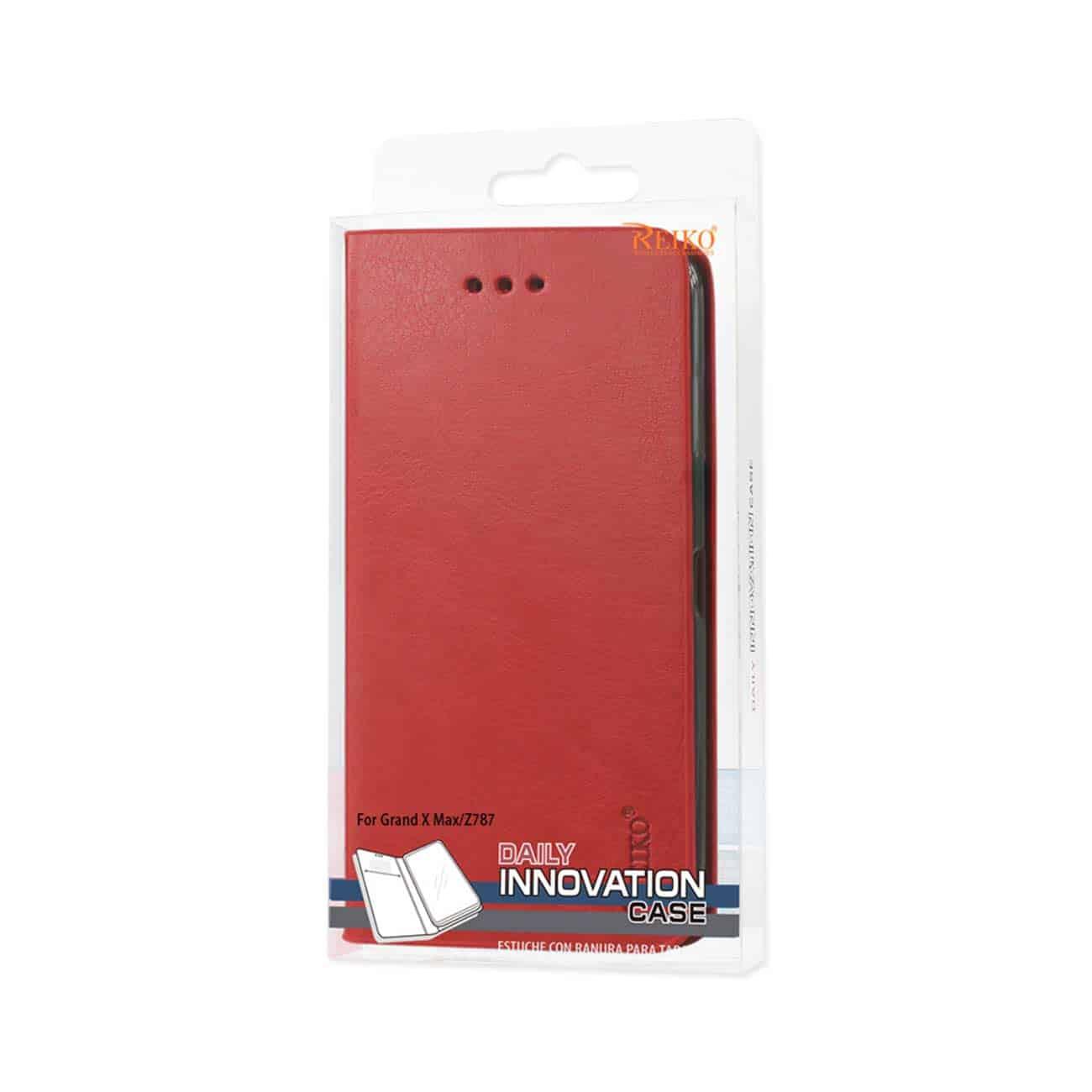 ZTE GRAND X MAX FLIP FOLIO CASE WITH CARD HOLDER IN RED