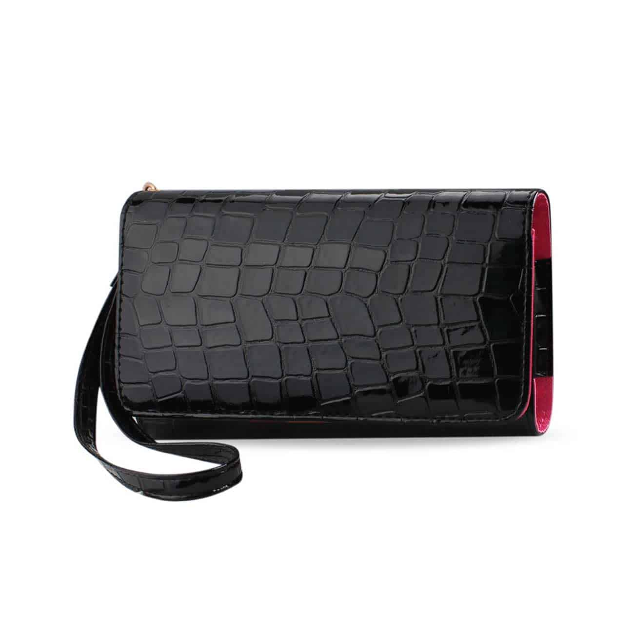 CROCODILE PATTERN PURSE WALLET CASE IN BLACK
