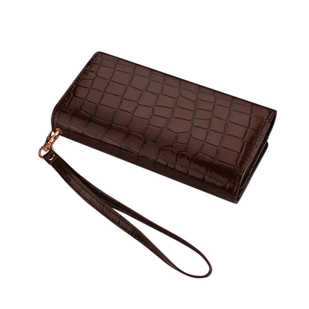 CROCODILE PATTERN PURSE WALLET CASE IN BROWN