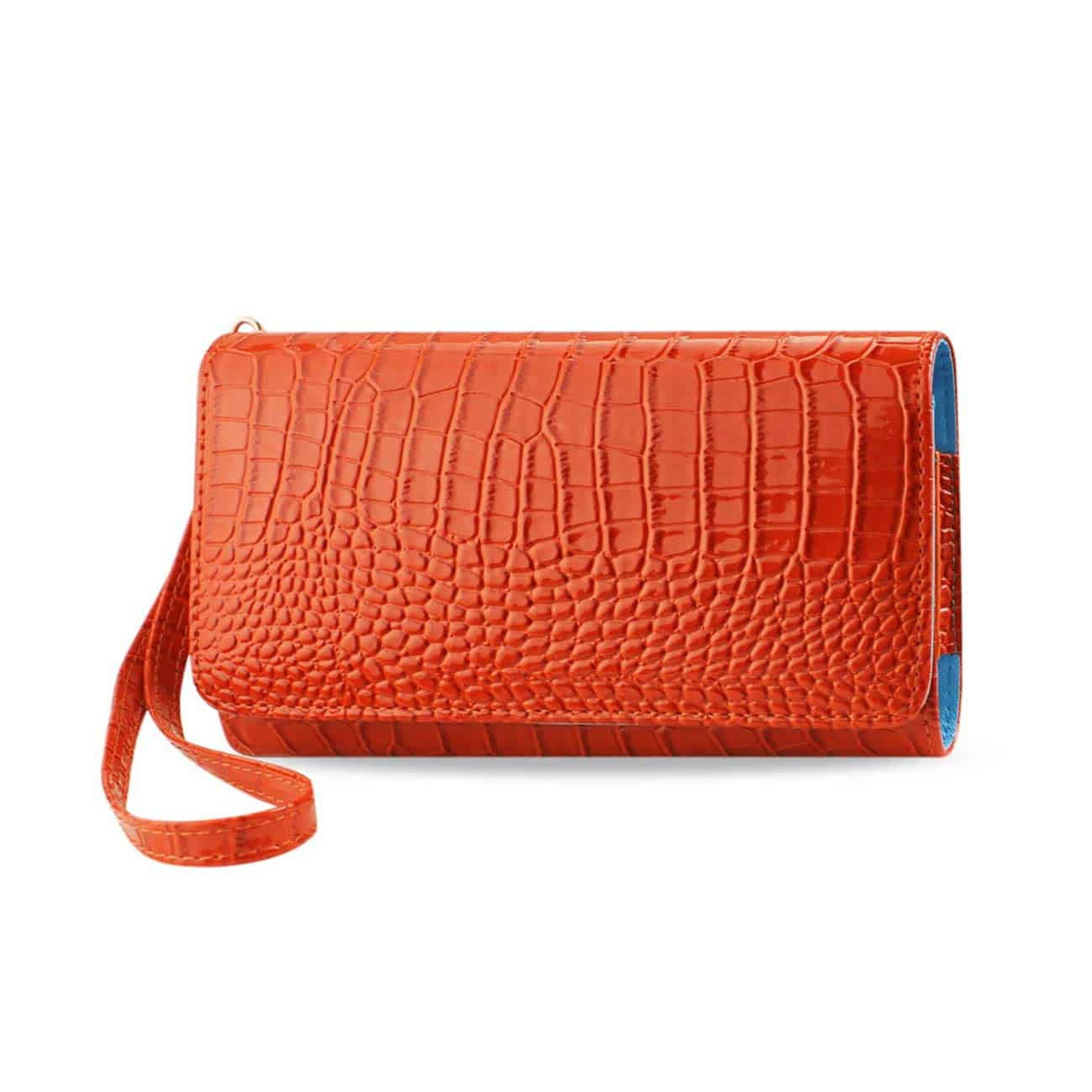 CROCODILE PATTERN PURSE WALLET CASE IN ORANGE