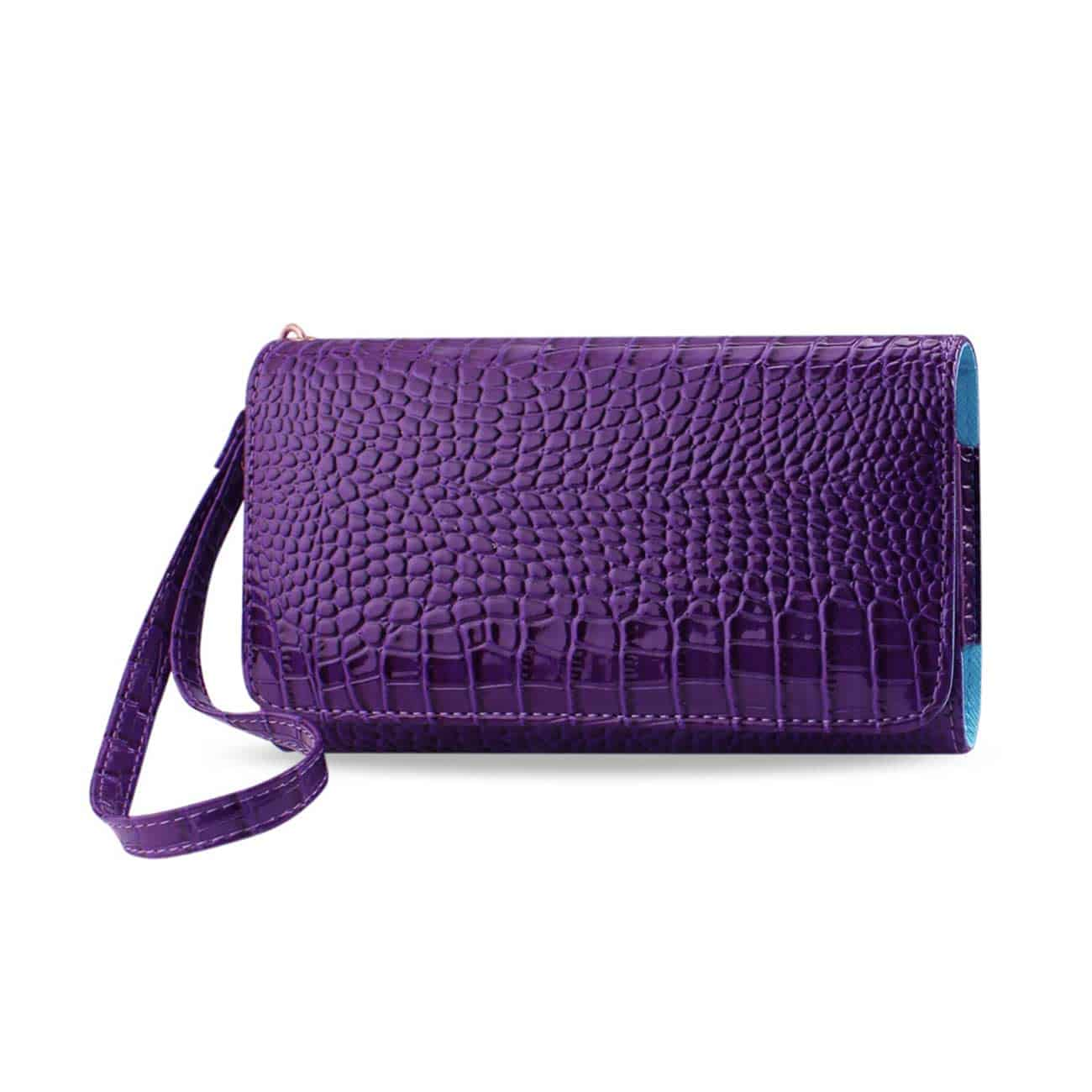 CROCODILE PATTERN PURSE WALLET CASE IN PURPLE