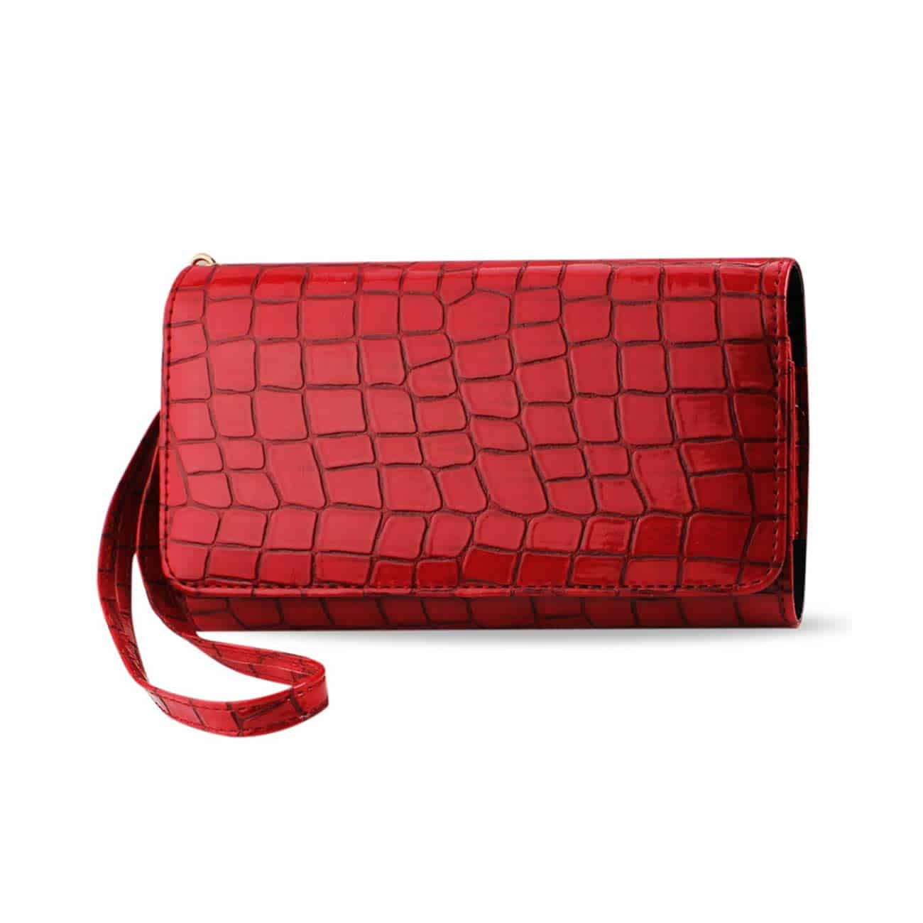 CROCODILE PATTERN PURSE WALLET CASE IN RED