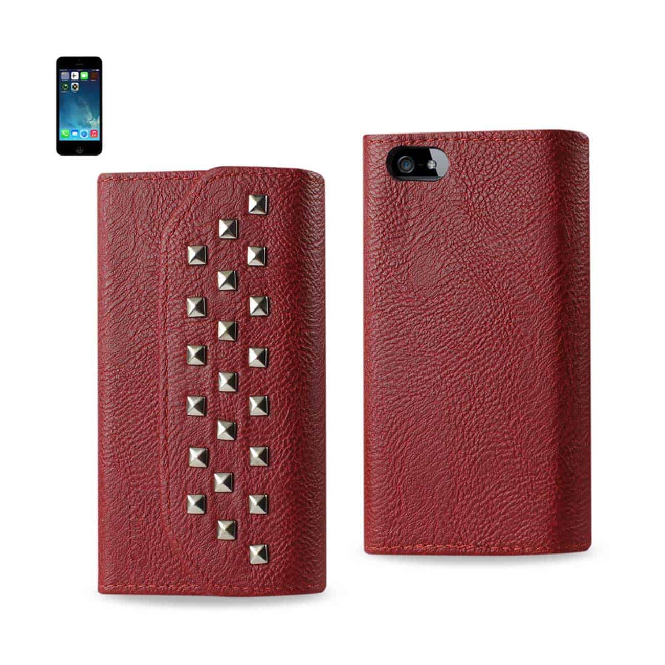 IPHONE SE/ 5S/ 5 STUDS WALLET CASE IN DARK RED