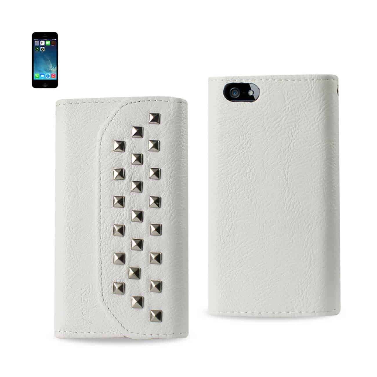 IPHONE SE/ 5S/ 5 STUDS WALLET CASE IN WHITE