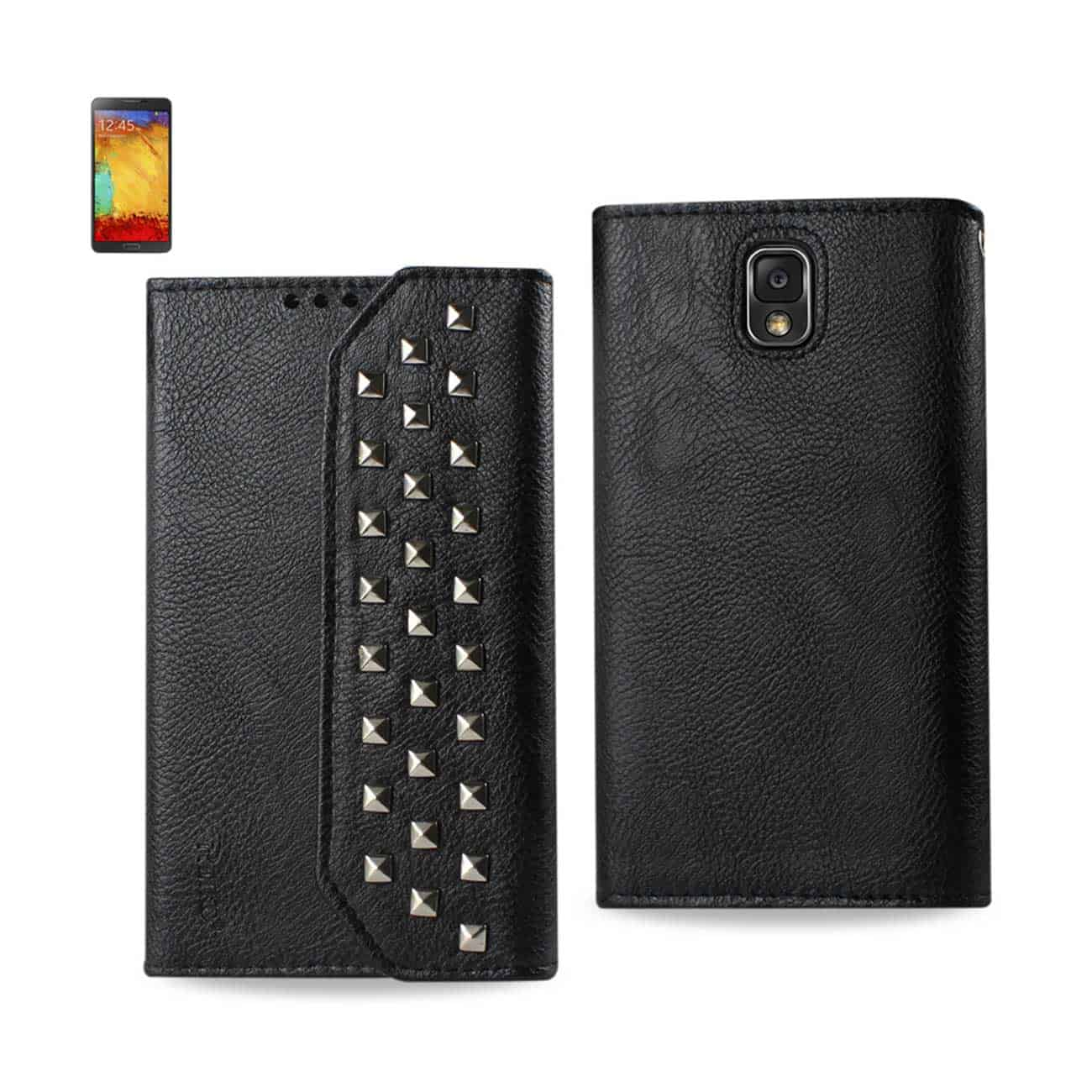 SAMSUNG GALAXY NOTE 3 STUDS WALLET CASE IN BLACK