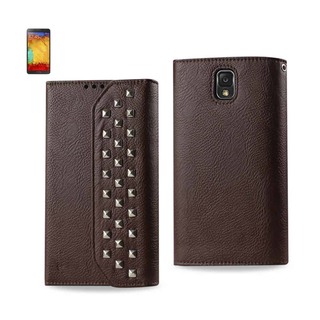 SAMSUNG GALAXY NOTE 3 STUDS WALLET CASE IN BROWN