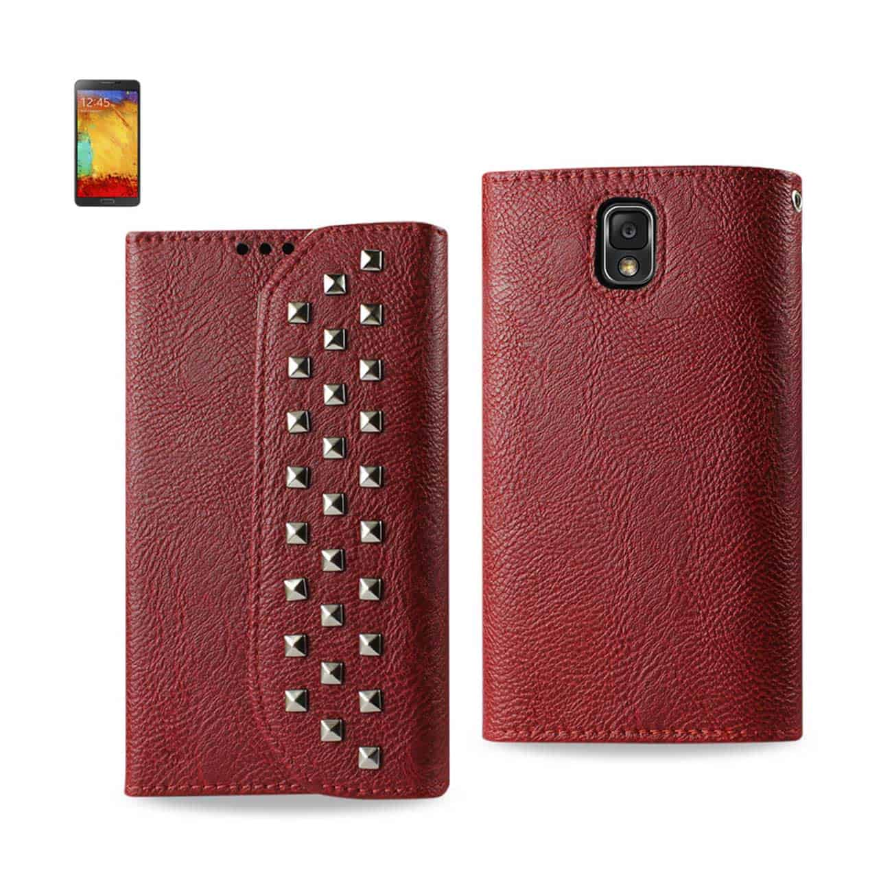 SAMSUNG GALAXY NOTE 3 STUDS WALLET CASE IN DARK RED