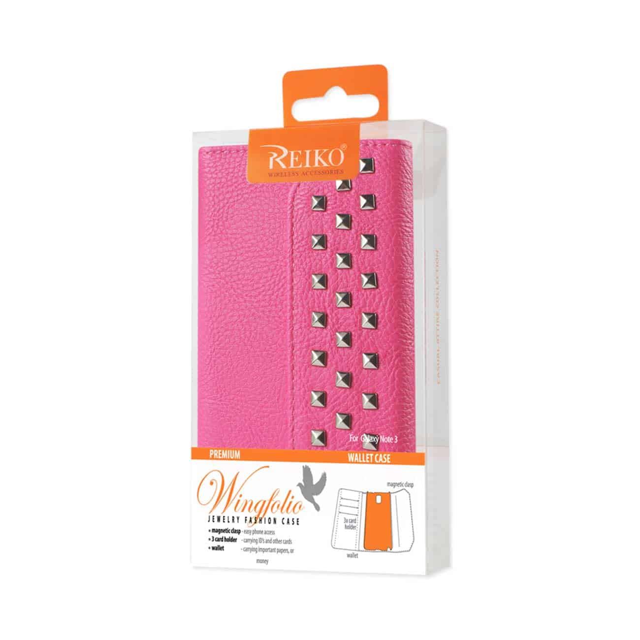 SAMSUNG GALAXY NOTE 3 STUDS WALLET CASE IN HOT PINK