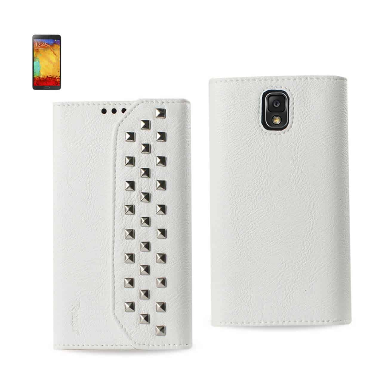 SAMSUNG GALAXY NOTE 3 STUDS WALLET CASE IN WHITE