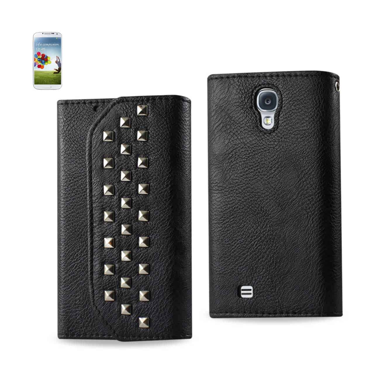 SAMSUNG GALAXY S4 STUDS WALLET CASE IN BLACK