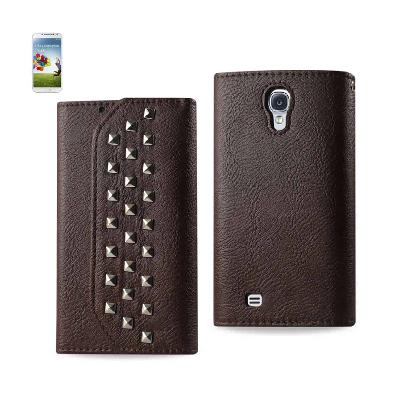 SAMSUNG GALAXY S4 STUDS WALLET CASE IN BROWN