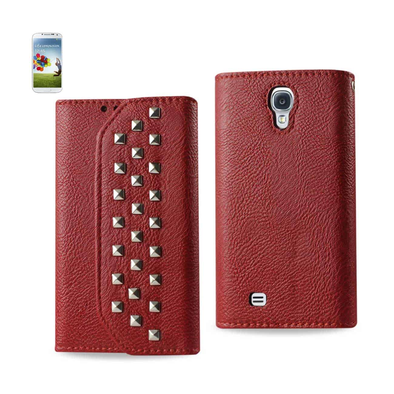 SAMSUNG GALAXY S4 STUDS WALLET CASE IN DARK RED
