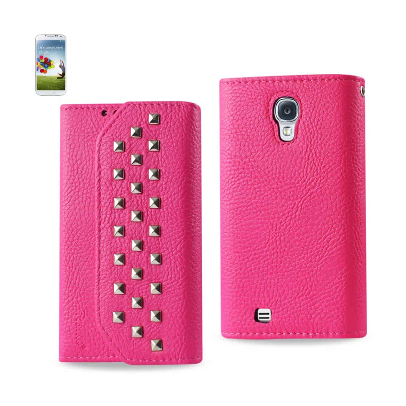 SAMSUNG GALAXY S4 STUDS WALLET CASE IN HOT PINK