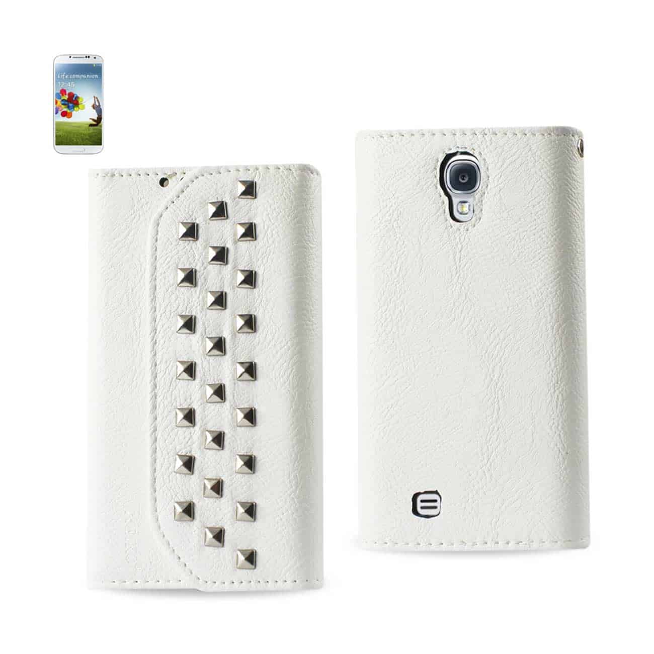 SAMSUNG GALAXY S4 STUDS WALLET CASE IN WHITE