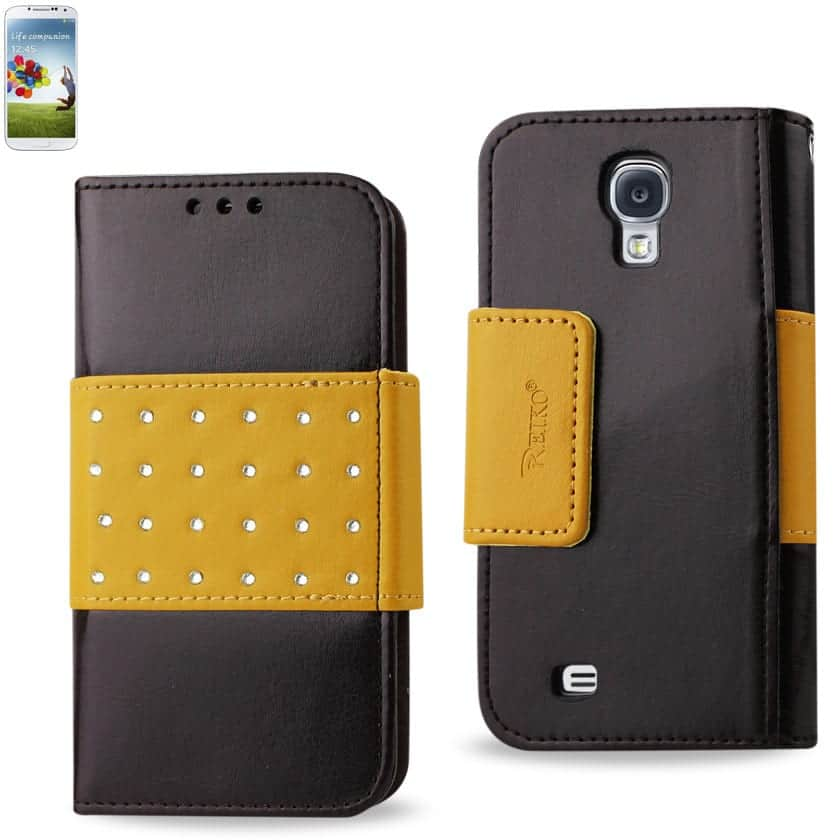 SAMSUNG GALAXY S4 JEWELRY DIAMOND STUDS BELT WALLET CASE IN BROWN