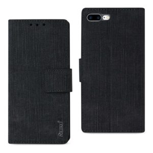 iPhone 8 Plus/ 7 Plus Denim Wallet Case With Gummy Inner Shell And Kickstand Function In Black