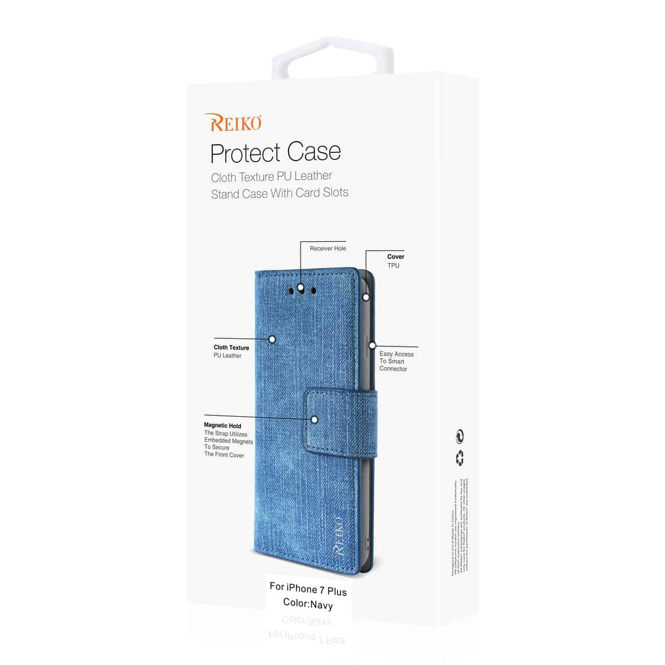 iPhone 8 Plus/ 7 Plus Denim Wallet Case With Gummy Inner Shell And Kickstand Function In Navy