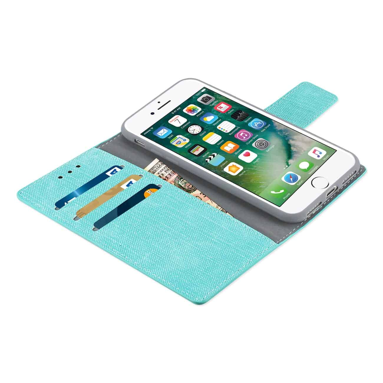 IPHONE 7/ 6/ 6S DENIM WALLET CASE WITH GUMMY INNER SHELL AND KICKSTAND FUNCTION IN BLUE