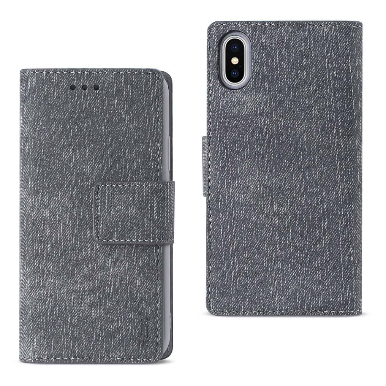 IPHONE X DENIM WALLET CASE WITH GUMMY INNER SHELL AND KICKSTAND FUNCTION IN GRAY
